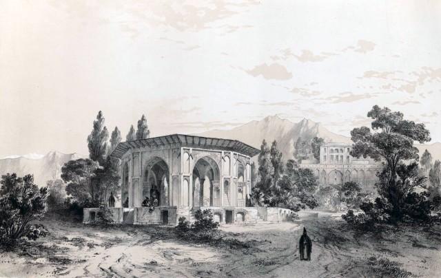 Gazebo_and_gardens_of_the_palace_of_Qasr_e_Qajar_by_Eugène_Flandin